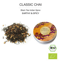 Classic Chai, 35g tin black organic tea flavoured with Indian spices
