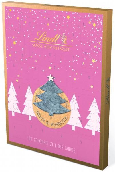 Calendario de Adviento de Lindt & Sprüngli, edición de fieltro, rosa claro, 275g