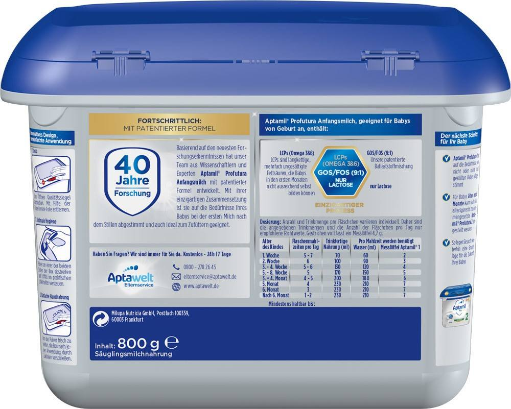 Aptamil Profutura 1 formula milk in the practical Safebox from birth, 800g