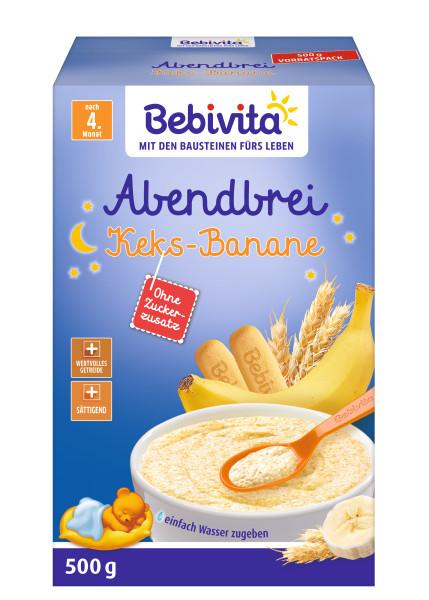 德国Bebivita贝维他晚餐牛奶饼干香蕉米粉米糊,4个月,500g