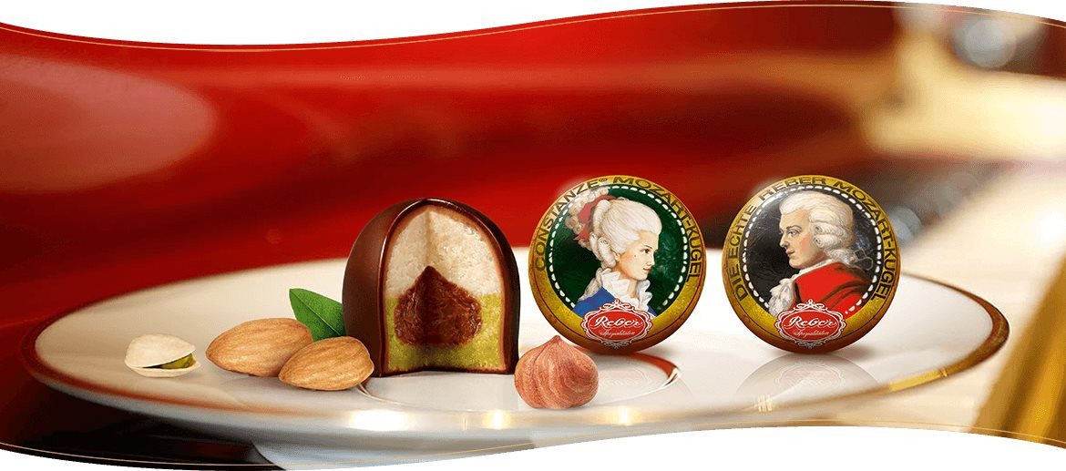 Reber Mozart balls banner, production Mozartkugeln, Chocolatier