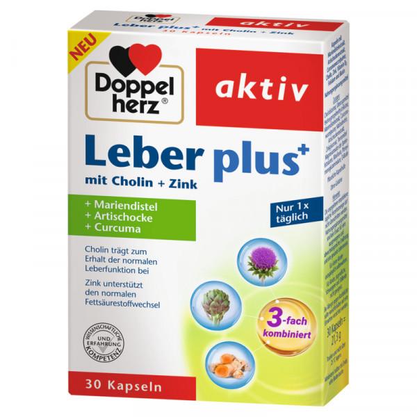 Double Heart Liver plus with choline + zinc + milk thistle + artichoke + curcuma, 30 capsules