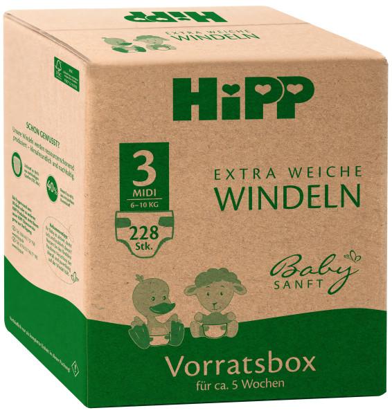 Pañales extra suaves Hipp baby Midi 3 caja de almacenaje, tamaño 62-80, 6-10kg, 3x76 pañales