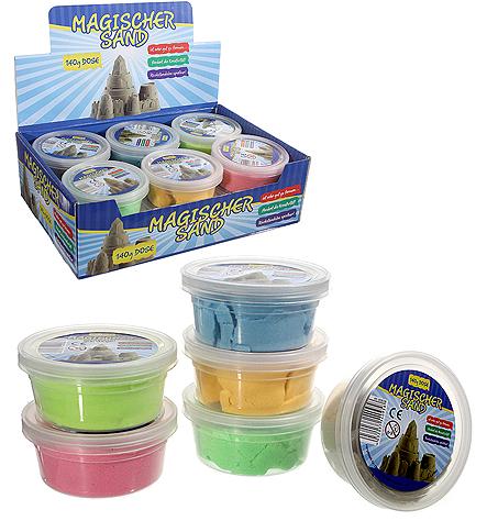 Magischer Sand Set, bestehend aus 6 Farben sortiert, 140g Dose, 6x140g