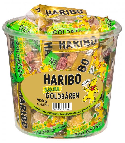 Haribo gold bear tin sour, 60 mini bags, 900g
