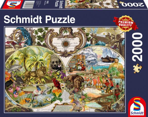 """Premium Schmidt Puzzle """"Exotic world map"""", 2000 pieces"""