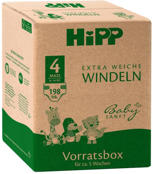 Hipp婴儿柔软超柔软尿布Maxi 4储物盒,尺寸74-92,8-14kg,3x66尿布