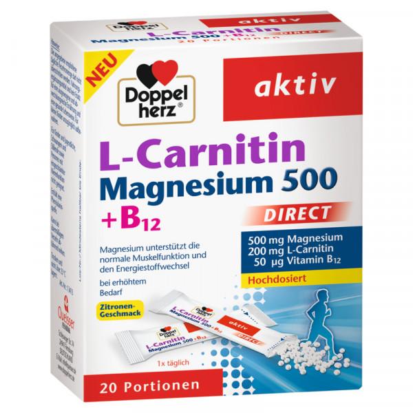 L-Carnitina de doble corazón activa de magnesio 500 + B12 DIRECT, 20 porciones
