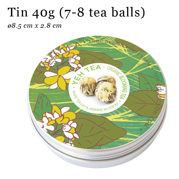 """White flower"", 50g tin, white tea flavoured with jasmine blossoms"
