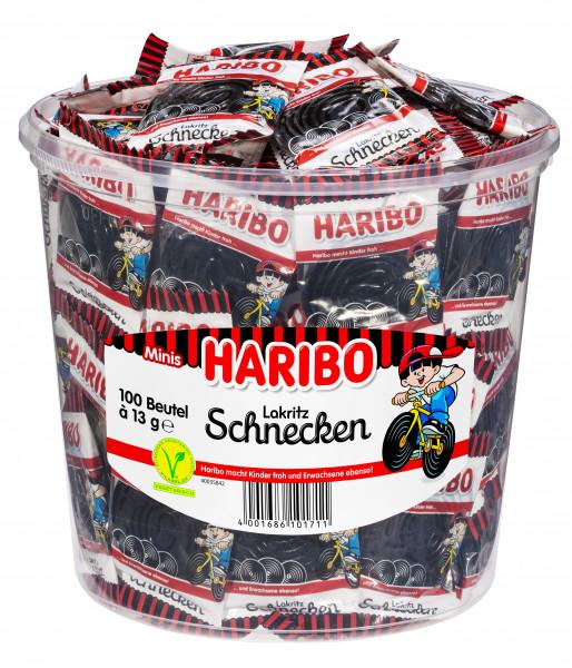 Haribo Schnecken Lakritz Mini Runddose 100 Mini-Beutel, 1,27kg