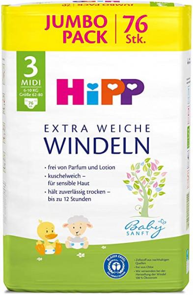 德国HIPP喜宝柔软低敏儿童尿裤专用合体3号 大小62-80, 适合6-10公斤, 228 片装