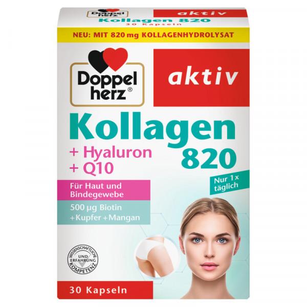 Colágeno Doble Corazón 820 + Hialuron + Q10, 30 cápsulas