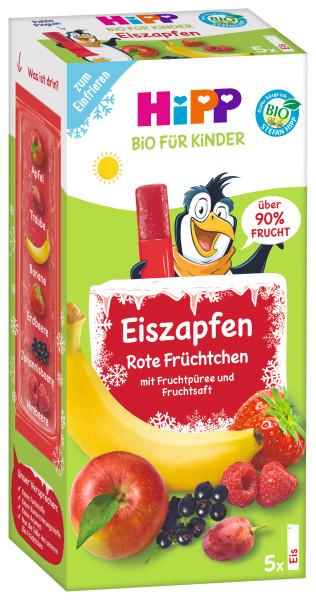 Hipp有机冰柱红色水果5 x 150ml = 25美味的冰柱