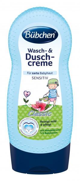 Bübchen Wash & Shower Cream para la piel delicada del bebé Sensitiv classic, 230ml