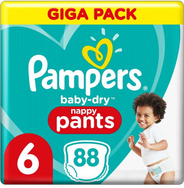 Pampers BabyDry Pants talla 6 (XL) Giga-Pack, 88 pañales