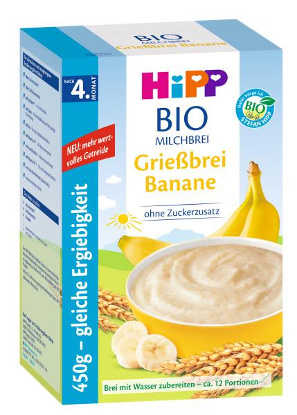 Hipp Bio-Milchbrei Grießbrei Banane nach dem 4. Monat, 450g