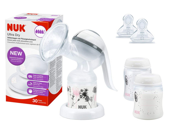 NUK breastfeeding set with manual breastpump, nursing pads, breast milk container and teat