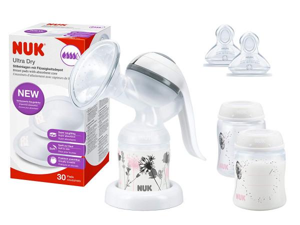 Set per l'allattamento al seno NUK con tiralatte manuale, pastiglie per l'allattamento, contenitore per il latte materno e tettarella