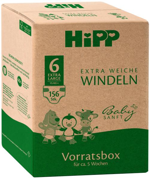 Hipp Babysanft超柔软尿布超大号6个储物盒,大小为98 +,15kg +,3x52尿布