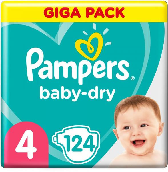 Pampers BabyDry talla 4 (Maxi) Giga-Pack 7-18kg, 124 pañales