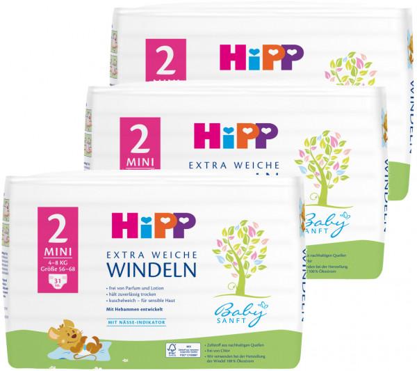 5016cbddf8 Hipp Babysanft Windeln Mini 2, Größe 56-68, 3-6kg, 3x31 Windeln ...