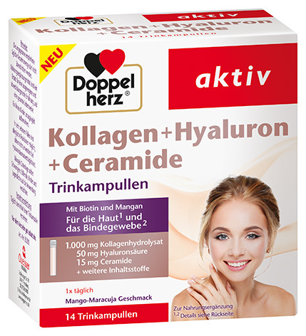 Double heart collagen + hyaluron + ceramides 14 drinking ampoules = 350ml