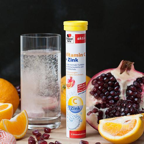 Comprimé effervescent de vitamine C à double coeur