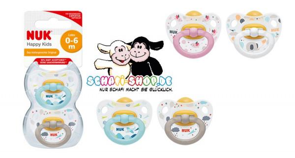 NUK Happy Kids Latex Schnuller, Größe 1 (0-6 Monate)