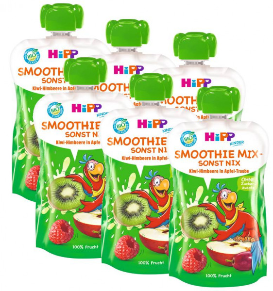 Hipp Bio Pedro Papagei Smoothie Mix Kiwi-Himbeere in Apfel-Traube 6x120ml