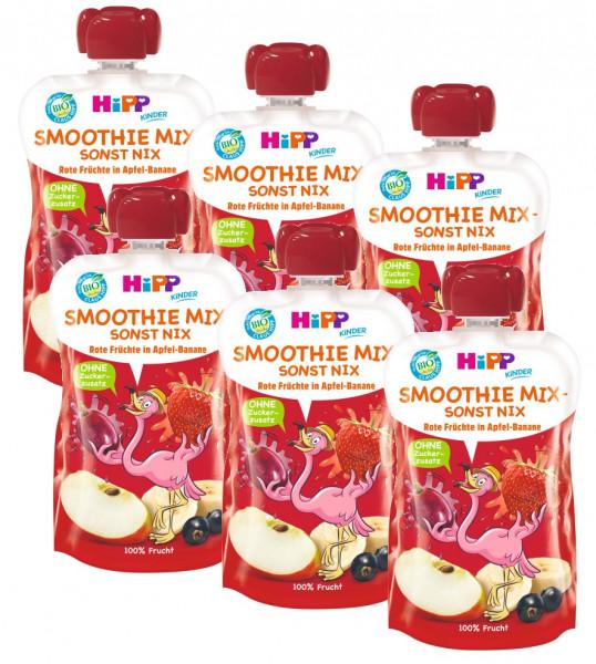 Hipp Bio Flora Flamingo Smoothie Mix Rote Früchte in Apfel-Banane 6x120ml (MHD 31.01.19)
