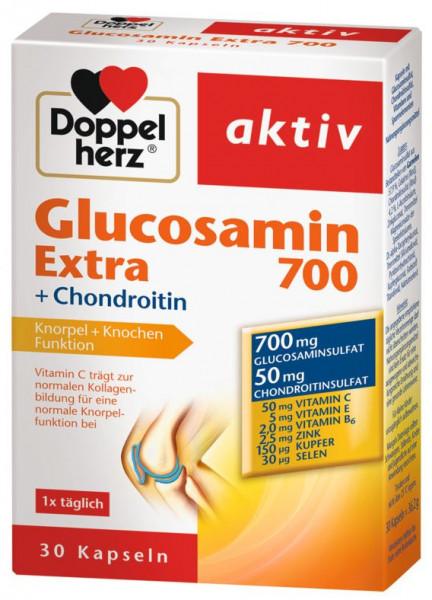 Corazón doble activo, Glucosamina Extra 700 + Condroitina, 30 Cápsulas