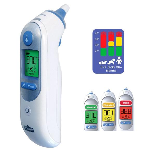 德国BRAUN 博朗ThermoScan 7IRT6520红外线耳温枪家用儿童温度计电子快速精准测量耳温仪器湿度测量彩色显示