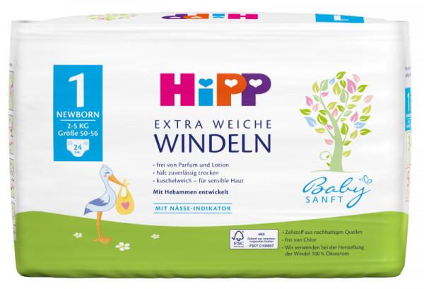 Hipp Babysanft extra weiche Windeln Newborn 1 Vorratsbox, Größe 50-56, 2-5kg, 4x24 Windeln