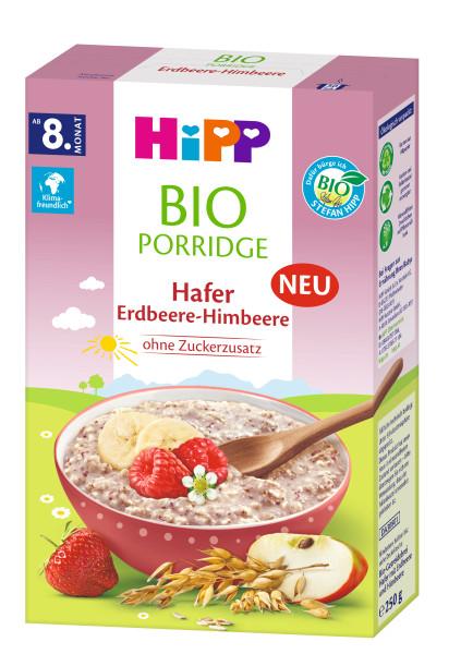 Avena de avena orgánica Hipp con fresa y frambuesa, a partir del 8º mes, 250g