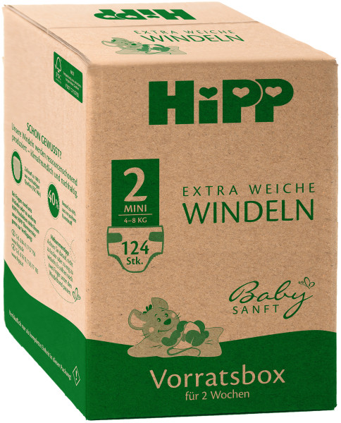 Hipp baby soft extra soft diapers Mini 2 storage box, size 56-68, 3-6kg, 4x31 diapers