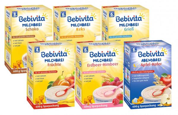 Bebivita Brei Mix 6: Milchbreie Grieß, Frucht, Keks, Schoko, Erdbeer-Himb u Hafer-Apfel je 600g