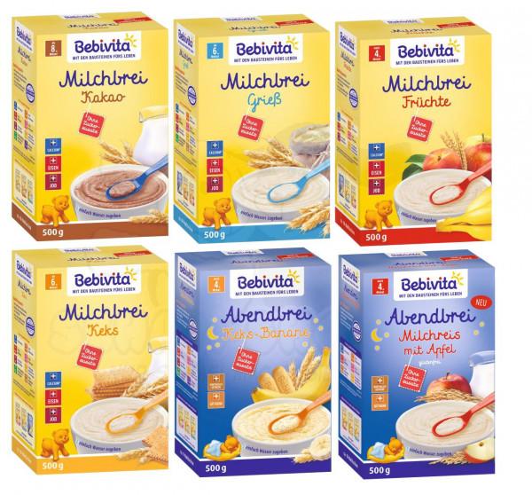 Bebivita Brei Mix 6: Milchbreie Grieß, Frucht, Keks, Kakao, Keks-Banane und Milchreis-Apfel je 500g