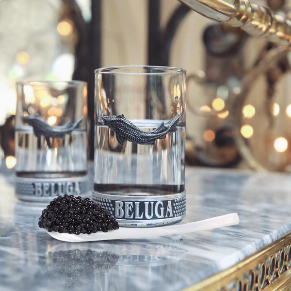 Original Beluga glass with caviar spoon