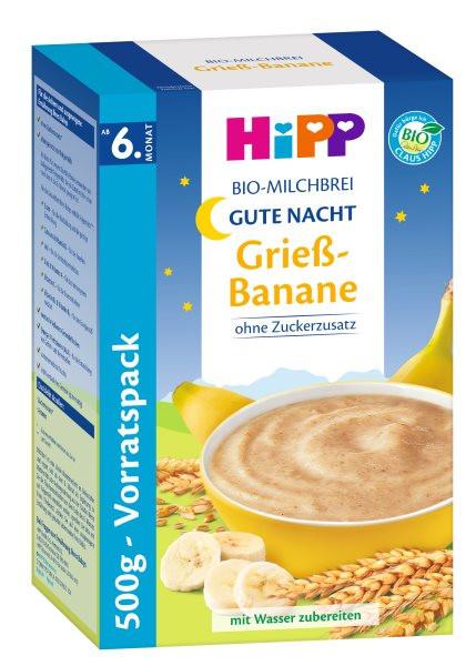 Hipp喜宝有机粗面粉香蕉口味晚安奶糊 500克