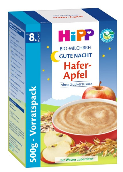 Hipp Bio-Milchbrei Gute-Nacht-Brei Hafer Apfel, 500g