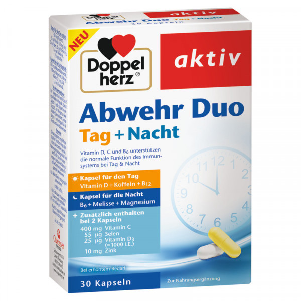 Double heart active defence duo day + night, 30 capsules