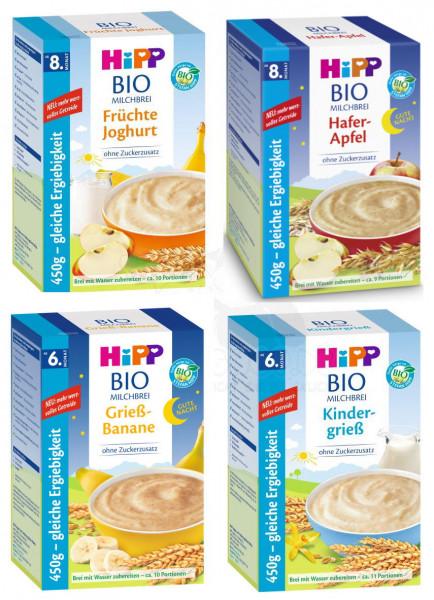 Mélange de bouillie de lait biologique Hipp, 4 variétés : semoule pour enfants, fruits, avoine pomme GuteNacht et semoule banane 4x450g